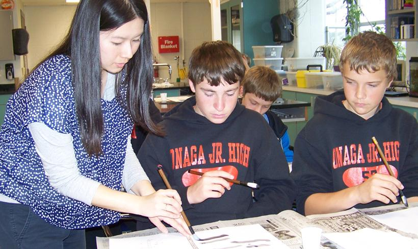 Photo of Students Learning Caligraphy